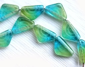 Triangle beads, Blue Teal Green glass beads, top drilled, czech glass - 12x7mm - 20Pc - 2386