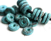 25pc Heavy Patinated beads, rondelles, Greek Ceramic beads, Turquoise green, rustic rondels, spacers, for leather cord, 8mm - 2391