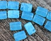 Aqua Blue Rectangle beads mix, Rectangular czech glass beads - 12x8mm - 15Pc - 1767