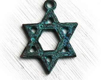David Star pendant bead, Verdigris patina, Star of David, Greek casting, Judaica charm, 30mm, Lead Free - F377