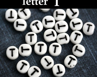 White Glass Alphabet Beads - letter T - black inlay, czech Letter beads, personalized, 6mm - 25pc - 2462