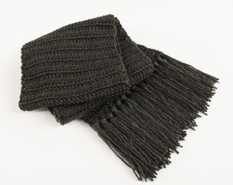 Charcoal Gray Neck Scarf with Fringe