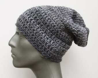 Crochet Slouch Hat in Variegated Gray