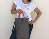 Free Shipping/Grey tote leather bag/Grey bag/Medium leather bag/Shoulder bag/Grey tote bag/Leather tote bag/ Handmade by Lara Klass