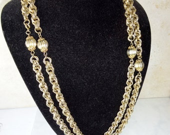 Vintage Long Chain Necklace Gold Tone Chunky Chain Link Necklace
