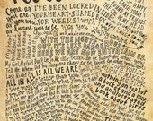 Nirvana Lyrics and Quotes - 8x10 handdrawn and handlettered print on antiqued paper rock music lyrics