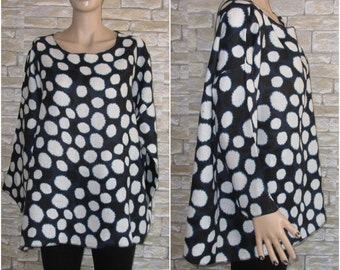 Loose Linen Top With Drop Shoulder Sleeves/Linen Tunic/Linen Blouse/Dotted Top/Spotted Top/Plue size Dark Blue Top Oversize fall linen top