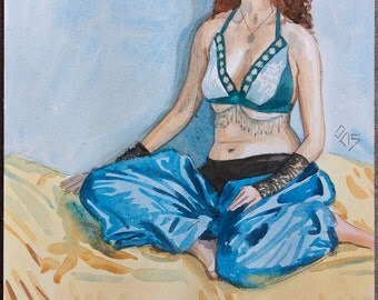 Seated Female Belly Dancer Original Watercolor Watercolour