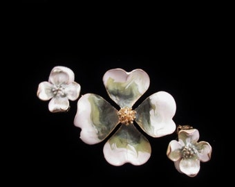 Vintage Flower Pin and Clip Earrings