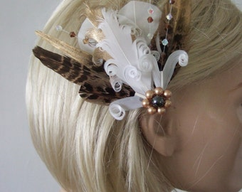 "White Brown Gold  Goose Pheasant Feathers + Crystals Fascinator Hair Clip ""Eva"" FGB0610 Bridal Wedding - Bridesmaids Rustic Woodland Bride"