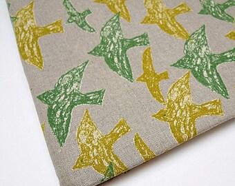 Japanese Linen Fabric, Bird Print Fabric, Bird Fabric - Natural