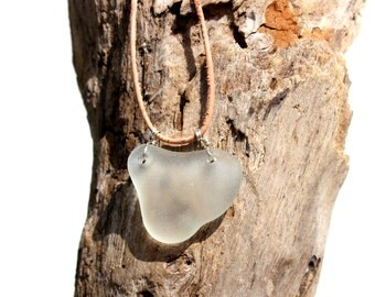 Hawaiian Clear Beach Glass Wire Wrapped in 925 Sterling Silver on India Leather Necklace