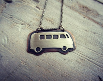 Road Trip Camper Van Necklace - Copper and Sterling Pendant