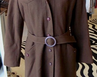 DARK BROWN hooded COAT wool vintage betty rose S