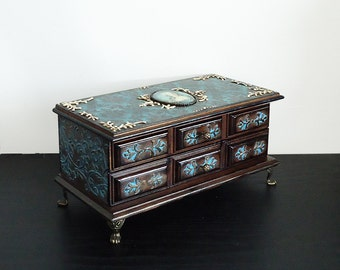Big Hand Decorated  Box, Victorian box, Antique Jewelry Box with patina, Distressed Brown Box/ Trinket Box with damask/ Turquoise brown