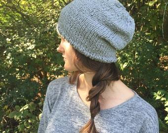 Grey Knit Slouchy Beanie Tam Hat   Light Gray   Vegan Yarn