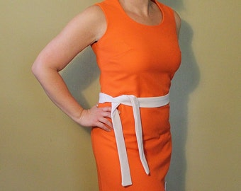 Vintage 1960s 1970s Orange Party Dress - Long Dress - Cocktail Dress - Orange and White - Sleeveless