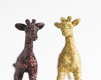 Safari Baby Giraffes Jungle Baby Shower Cake Topper, Nursery Decoration in Gold, Brown Glitter, Table Settings or Children's Room Decor