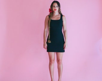 black mini skirt dress/ inky black scooter dress/ 1990s/ xs - small