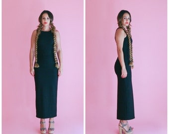 black maxi body con dress/ sleeveless inky black wiggle dress/ 1990s/ small - medium