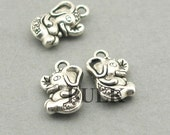 Elephant Charms BULK order Antique Silver 30pcs zinc alloy pendant beads 10X17mm CM0958S