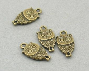 Small Owl Charms Antique Bronze 8pcs pendant beads 9X18mm CM0023B