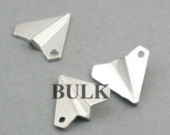 BULK 30 Paper Airplane Charms, Wholesale Origami Airplane pendant beads, Antique Silver 18X18mm CM0735S