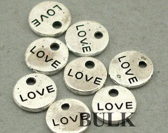 Love Round Disc Charms BULK order Quote Antique Silver 60pcs zinc alloy pendant beads 8mm CM0573S