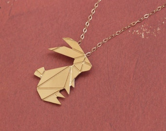 Easter Jewelry, Origami Rabbit Necklace , Gold Rabbit Charm , Origami Animal Jewelry , Origami Bunny Jewelry , Gold Bunny Charm