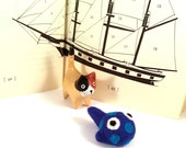 Blue Spotted Fish Catnip Cat Toy - Needle Felted Wool