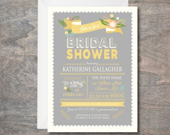 Bridal Shower invitation, Yellow and Grey Bridal Shower Invitation, Floral Shower Invite, printable, DIY, Retirement Party Invitation