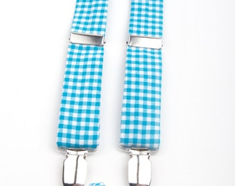Turquoise Gingham Bow Tie & Suspenders Set, gingham suspenders, gingham bow tie, turquoise gingham bow tie, aqua gingham suspenders