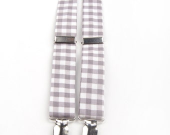 Grey Gingham Suspenders, grey and white suspenders, grey check suspenders, boys suspenders, men's suspenders, adult suspenders, boys braces