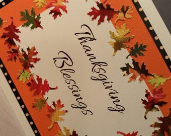 """Thanksgiving Card ~ Handmade Autumn Themed 5"""" x 7"""" Thanksgiving Card with Autumn Leaves"""