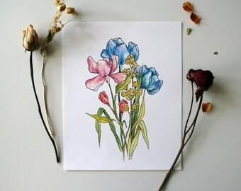 Spring Bouquet - Floral Watercolor Print - 8 x 10