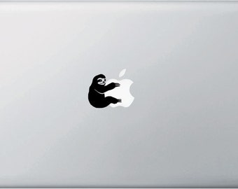 "MB - Sloth Hugging - Cute Sloth - Vinyl Macbook or Laptop Decal Sticker - Copyright © 2015 Yadda-Yadda Design Co. (SM 1.5""w x 1.5""h) (BLACK)"