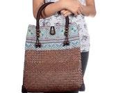 Rattan Tote Bag With Vintage Hmong Fabric Thailand (BG7089-2C39)