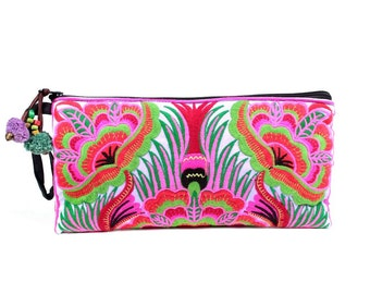 Pulple GARDEN Clutch Wristlet Bag - HMONG Embroidered Bag - Handmade Thailand (BG810.X302)