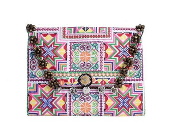 Summer Bells Clutch With Embroidered Fabric Handmade Thailand (BG306WB-45C2)