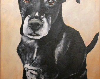 Custom pet portrait, painted portrait of your dog, hand painted from your photo, 10x14 canvas, gift for pet lovers