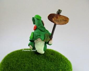 Greenbeard The Tree Hugger  ~ Gardener Miniature Gnome ~ Scandivanian Style Gnome