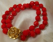 Candy Apple Red Faceted Bead Bracelet with Gold Rose Clasp