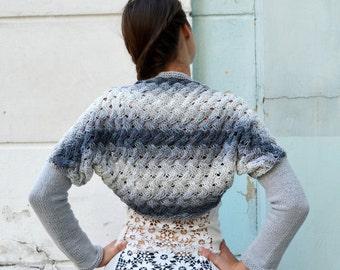 Knit cotton Bolero, Wedding Bridal Shrug ,Grey Ombre Bolero,Sleeves, Wrap, Evening Bolero