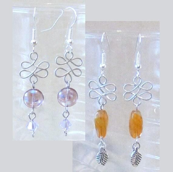 Silver Twist & Fancy Bead Dangle Pierced Earrings, Handmade Original Fashion Jewelry, Petite Delicate Abstract Unique Ladies Gift Idea