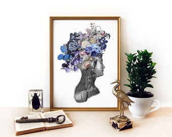 Floral head anatomical collage - archival print - flowers and butterflies