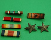 Vintage WW 11 / WW2 Medal Ribbons and Pr of Sterling Silver Stars (Pins) Good Vintage Condition