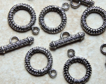 22X17mm Antique Silver Bali Style Toggle Clasp Sets, 5 Sets (INDOC187)