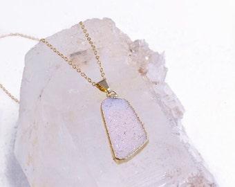 ON SALE-Druzy- Druze-pale lavender-Raw mineral- Agate- Sparkling-gold Necklace