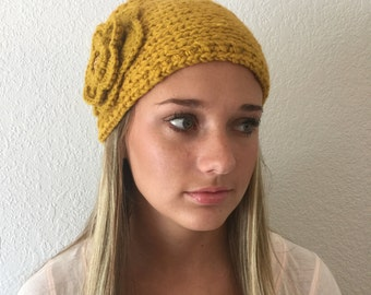 Yellow (Mustard)Knit Headband, Ear Warmer with Crochet Flower and Rhinestone Button