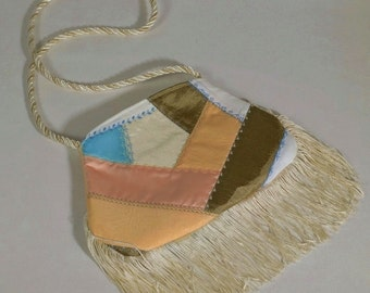 Fringed Boho Crazy Quilt Evening Bag in Pastels